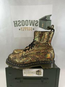 Dr. Martens 1460 Pascal Leather Boot in Gold Iridescent Crac