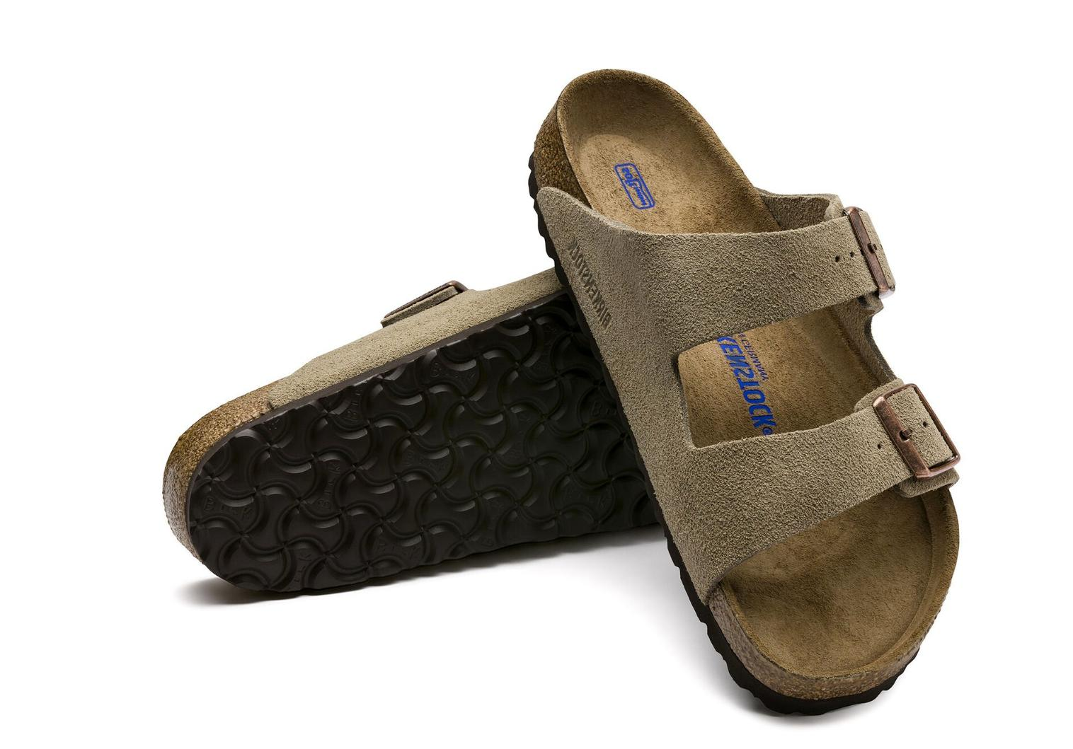 arizona soft footbed in suede leather taupe