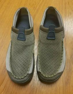 Crocs Linden Suede Loafers Slip On Brown Apron Toe Casual Sh