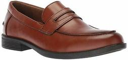 Deer Stags Mens Fund Leather Closed Toe Penny Loafer, Dark L