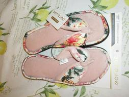 NWT Gold Toe Memory Foam Floral Flip Flop Slippers S 5/6