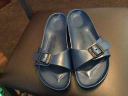women s navy synthetic slide sandals size