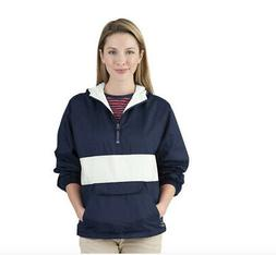 Charles River Apparel Women Striped Pullover, Navy/White Siz